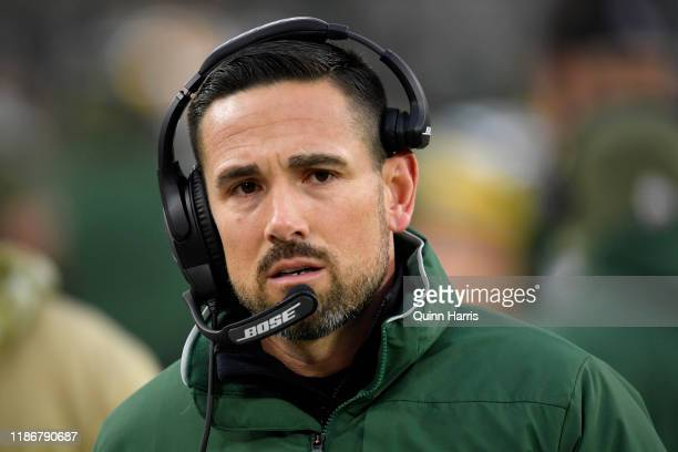 Head coach Matt LaFleur of the Green Bay Packers looks on in the first half against the Carolina Panthers at Lambeau Field on November 10 2019 in...