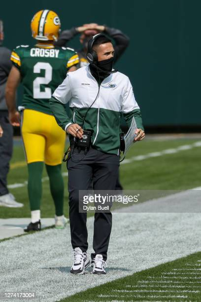Head coach Matt LaFleur of the Green Bay Packers looks on in the first quarter against the Detroit Lions at Lambeau Field on September 20 2020 in...