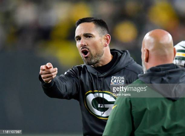 Head coach Matt LaFleur of the Green Bay Packers reacts in the first quarter against the Detroit Lions at Lambeau Field on October 14 2019 in Green...