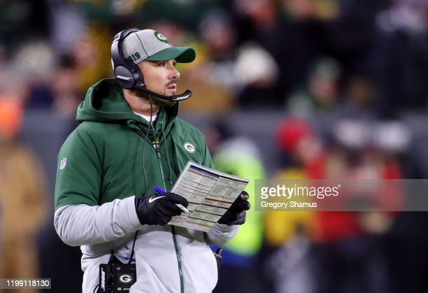 Head coach Matt LaFleur of the Green Bay Packers reacts in the NFC Divisional Playoff game against the Seattle Seahawks at Lambeau Field on January...