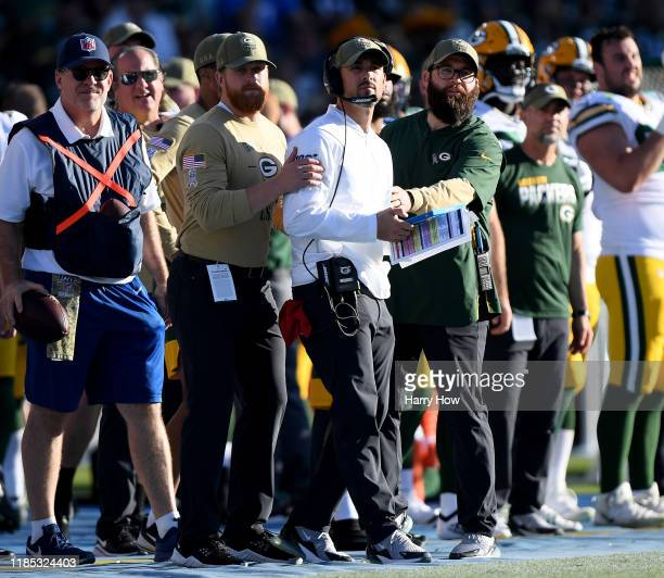 Head coach Matt LaFleur of the Green Bay Packers reacts to a Los Angeles Chargers blocked punt during the third quarter in a 2611 Chargers win at...