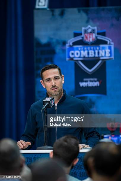 Head coach Matt LaFleur of the Green Bay Packers speaks to the media at the Indiana Convention Center on February 25 2020 in Indianapolis Indiana...