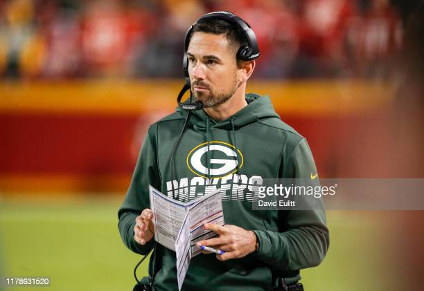 Head coach Matt LaFleur of the Green Bay Packers walks the sidelines during the second quarter against the Kansas City Chiefs at Arrowhead Stadium on...