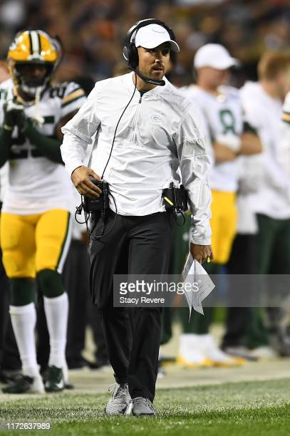 Head coach Matt LaFleur of the Green Bay Packers watches action during a game against the Chicago Bears at Soldier Field on September 05 2019 in...