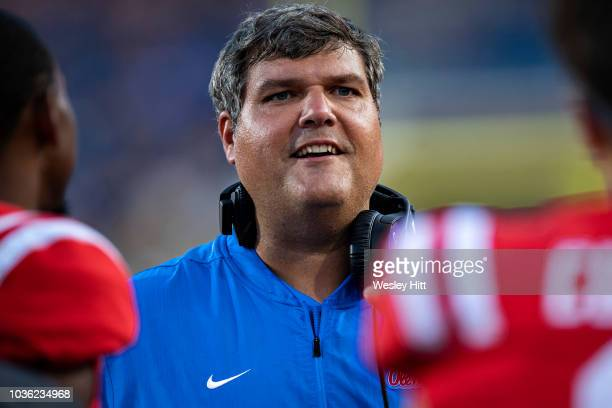 Head Coach Matt Luke of the Mississippi Rebels on the sidelines during a game against the Southern Illinois Salukis at VaughtHemingway Stadium on...