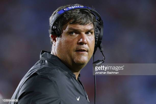 Head coach Matt Luke of the Mississippi Rebels reacts during a game against the Alabama Crimson Tide at VaughtHemingway Stadium on September 15 2018...