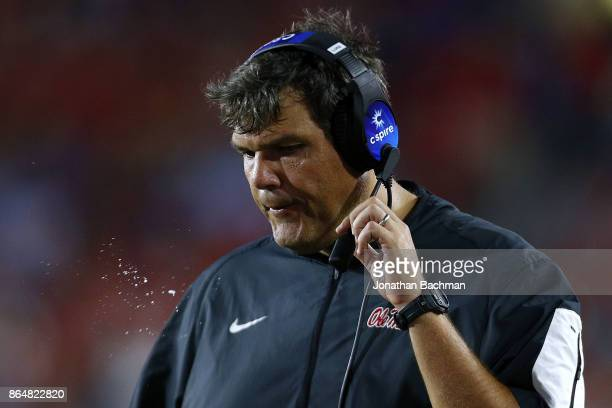 Head coach Matt Luke of the Mississippi Rebels reacts during the second half of a game against the LSU Tigers at VaughtHemingway Stadium on October...