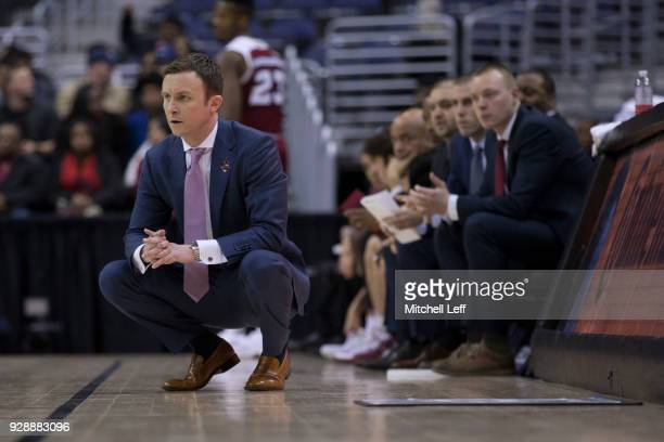 Head coach Matt McCall of the Massachusetts Minutemen looks on against the La Salle Explorers in the first round of the Atlantic 10 basketball...