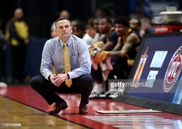 Head coach Matt McMahon of the Murray State Racers looks on during the first round game of the 2019 NCAA Men's Basketball Tournament against the...