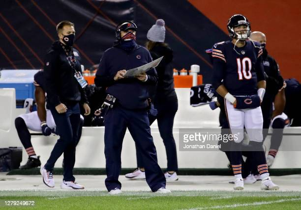 Head coach Matt Nagy and Mitchell Trubisky of the Chicago Bears look on from the sidelines at Soldier Field on October 08, 2020 in Chicago, Illinois.