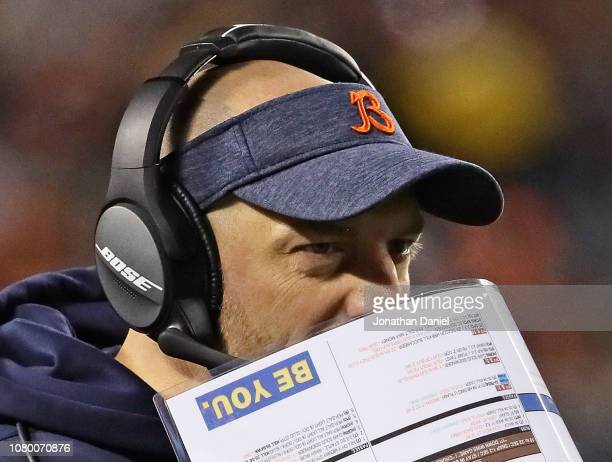 Head coach Matt Nagy of the Chicago Bears calls a play during an NFC Wild Card playoff game against the Philadelphia Eagles at Soldier Field on...