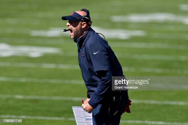 Head coach Matt Nagy of the Chicago Bears calls out instructions in the first quarter against the Carolina Panthers at Bank of America Stadium on...