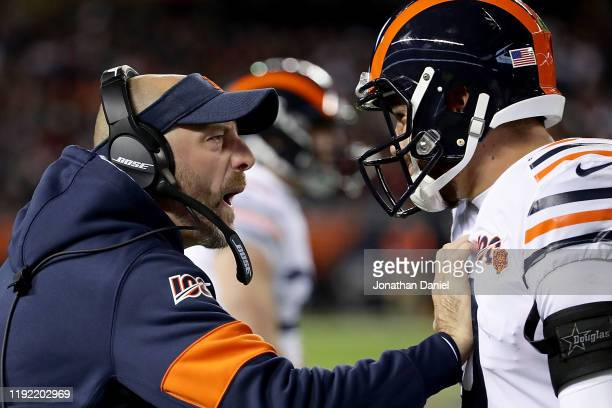 Head coach Matt Nagy of the Chicago Bears congratulates quarterback Mitchell Trubisky on a touch down in the second quarter of the game against the...