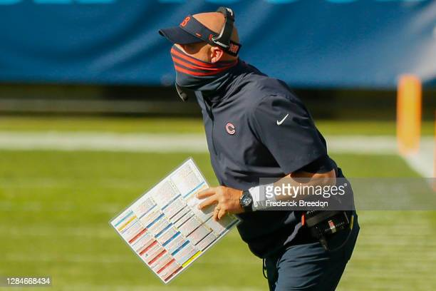 Head coach Matt Nagy of the Chicago Bears from the sideline during a game against the Tennessee Titans at Nissan Stadium on November 08, 2020 in...