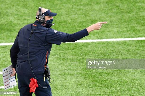 Head coach Matt Nagy of the Chicago Bears gestures during the first half against the Minnesota Vikings at U.S. Bank Stadium on December 20, 2020 in...