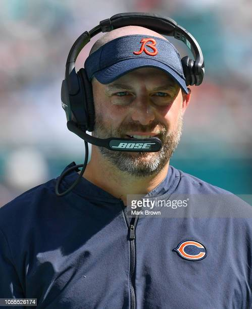 Head coach Matt Nagy of the Chicago Bears in action against the Miami Dolphins at Hard Rock Stadium on October 14 2018 in Miami Florida