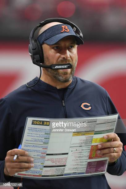 Head coach Matt Nagy of the Chicago Bears in action during the NFL game against the Arizona Cardinals at State Farm Stadium on September 23 2018 in...