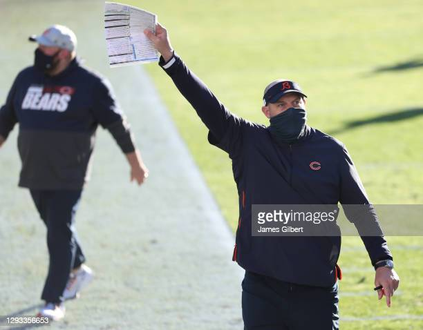 Head coach Matt Nagy of the Chicago Bears leaves the field waving to fans after defeating the Jacksonville Jaguars 41-17 at TIAA Bank Field on...