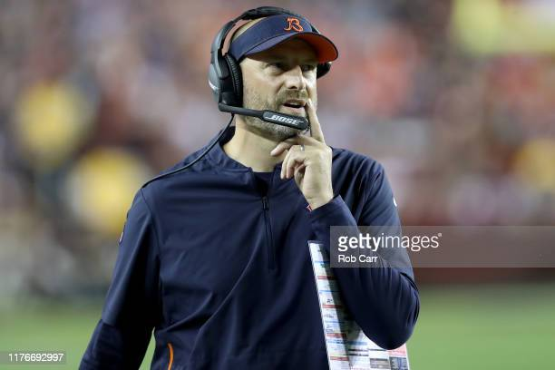 Head coach Matt Nagy of the Chicago Bears looks on against the Washington Redskins in the second half at FedExField on September 23, 2019 in...