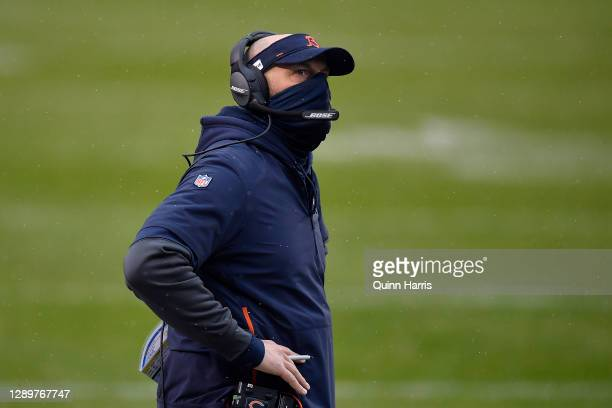 Head coach Matt Nagy of the Chicago Bears looks on against the Detroit Lions during the first half at Soldier Field on December 06, 2020 in Chicago,...