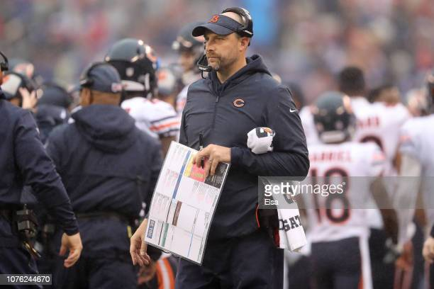 head coach Matt Nagy of the Chicago Bears looks on against the New York Giants at MetLife Stadium on December 02 2018 in East Rutherford New Jersey