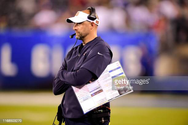 Head coach Matt Nagy of the Chicago Bears looks on against the New York Giants in the second half during a preseason game at MetLife Stadium on...