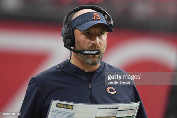Head coach Matt Nagy of the Chicago Bears looks on during the first half of NFL game against the Arizona Cardinals at State Farm Stadium on September...