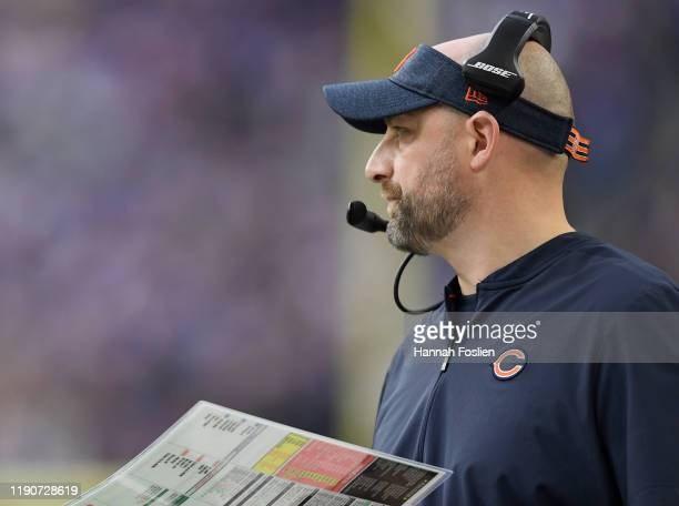Head coach Matt Nagy of the Chicago Bears looks on during the second quarter of the game against the Minnesota Vikings at U.S. Bank Stadium on...