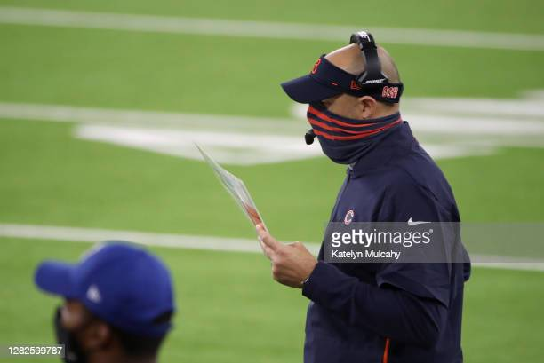Head coach Matt Nagy of the Chicago Bears looks on during the third quarter against the Los Angeles Rams at SoFi Stadium on October 26, 2020 in...