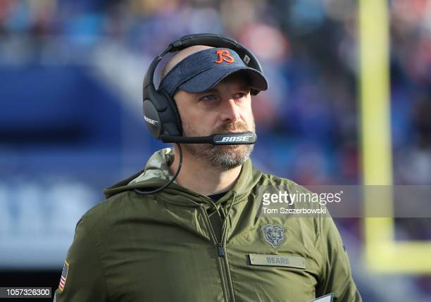 Head coach Matt Nagy of the Chicago Bears looks on from the sideline during NFL game action against the Buffalo Bills at New Era Field on November 4...