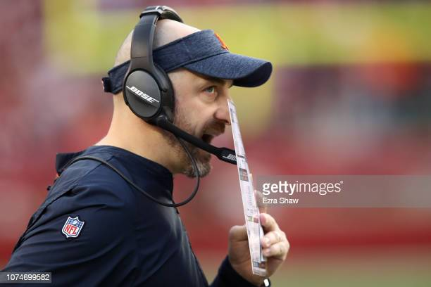 Head coach Matt Nagy of the Chicago Bears looks on from the sidelines during their NFL game against the San Francisco 49ers at Levi's Stadium on...