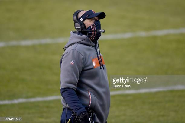 Head coach Matt Nagy of the Chicago Bears looks on from the sidelines against the Green Bay Packers during the first quarter in the game at Soldier...
