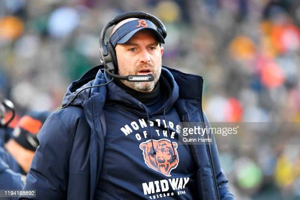 Head coach Matt Nagy of the Chicago Bears looks on in the second half against the Green Bay Packers at Lambeau Field on December 15, 2019 in Green...
