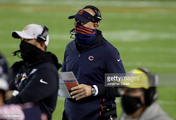 Head coach Matt Nagy of the Chicago Bears looks on in the third quarter against the Tampa Bay Buccaneers at Soldier Field on October 08, 2020 in...