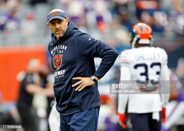 Head coach Matt Nagy of the Chicago Bears looks on prior to a game against the Minnesota Vikings at Soldier Field on September 29 2019 in Chicago...