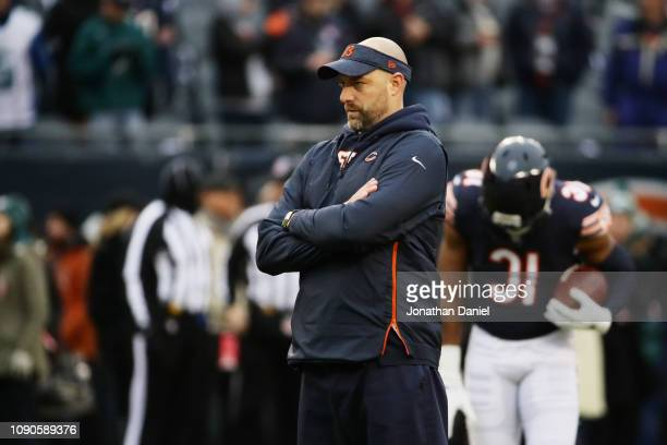 Head coach Matt Nagy of the Chicago Bears looks on prior to the NFC Wild Card Playoff game against the Philadelphia Eagles at Soldier Field on...