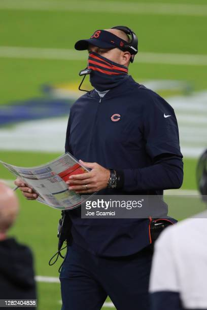 Head coach Matt Nagy of the Chicago Bears makes a call from the sidelines in the second quarter against the Los Angeles Rams at SoFi Stadium on...