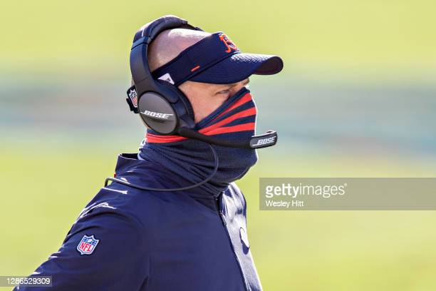 Head Coach Matt Nagy of the Chicago Bears on the sidelines during a game against the Tennessee Titans at Nissan Stadium on November 08, 2020 in...