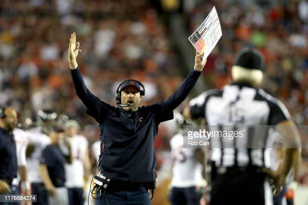 Head coach Matt Nagy of the Chicago Bears questions the original call that Taylor Gabriel was out of bounds during the second quarter against the...