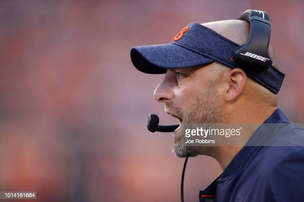 Head coach Matt Nagy of the Chicago Bears reacts against the Cincinnati Bengals in the first quarter of a preseason game at Paul Brown Stadium on...