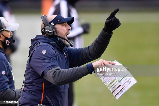 Head coach Matt Nagy of the Chicago Bears reacts against the Detroit Lions during the first half at Soldier Field on December 06, 2020 in Chicago,...