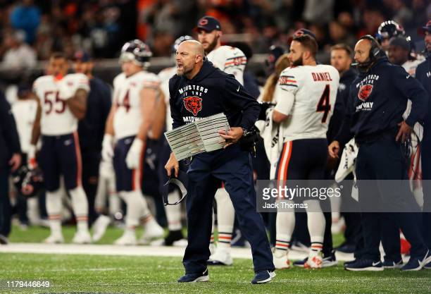 Head Coach, Matt Nagy of the Chicago Bears reacts during the match between the Chicago Bears and Oakland Raiders at Tottenham Hotspur Stadium on...