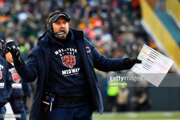 Head coach Matt Nagy of the Chicago Bears reacts in the second half against the Green Bay Packers at Lambeau Field on December 15, 2019 in Green Bay,...