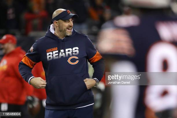 Head coach Matt Nagy of the Chicago Bears smiles before the game against the Kansas City Chiefs in the game at Soldier Field on December 22, 2019 in...