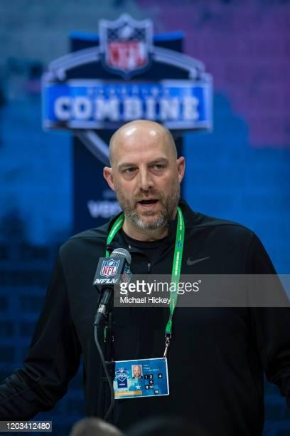 Head coach Matt Nagy of the Chicago Bears speaks to the media at the Indiana Convention Center on February 25 2020 in Indianapolis Indiana Matt Nagy