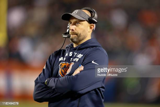 Head coach Matt Nagy of the Chicago Bears stands near the bench during the second half against the New Orleans Saints at Soldier Field on October 20,...