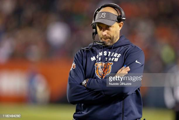Head coach Matt Nagy of the Chicago Bears stands near the bench during the second half against the New Orleans Saints at Soldier Field on October 20...