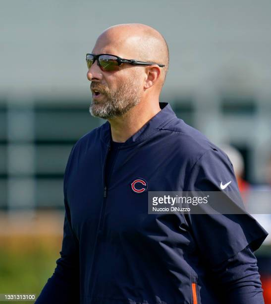 Head coach Matt Nagy of the Chicago Bears stands on the field during training camp at Halas Hall on July 29, 2021 in Lake Forest, Illinois.