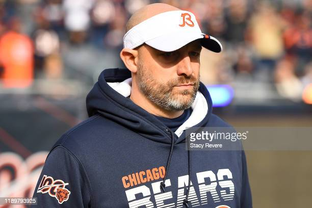 Head coach Matt Nagy of the Chicago Bears takes the field prior to a game against the New York Giants at Soldier Field on November 24, 2019 in...