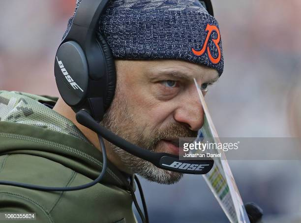 Head coach Matt Nagy of the Chicago Bears talks on the headphones during a game against the Detroit Lions at Soldier Field on November 11 2018 in...